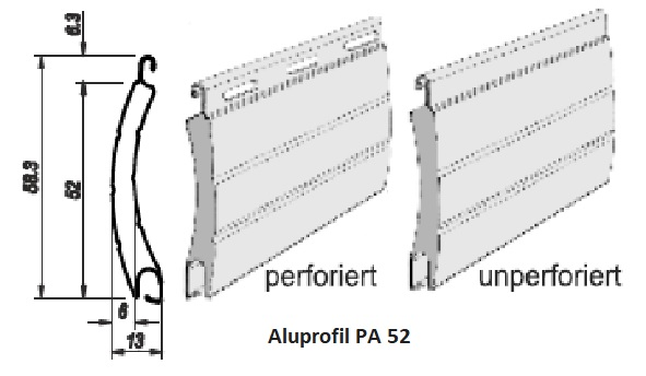 Rollladenlamellen PA52