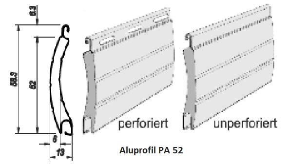 Rollladen Panzerprofil  PA52, arretiert mit Endleiste
