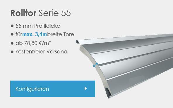 Rolltor 55 mm nach Mau00df konfigurieren, bis 3 meter breit, flu00e4che bis 9,5 qm